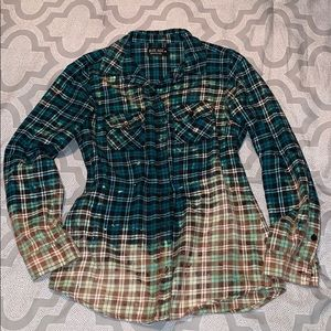 Distressed faded teal flannel